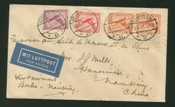 1931 June 16 First Flight Cover, Berlin to Nanking leg of Berlin to Shanghai return flight with all the right transits marks Starr Mills 42 (2 images)